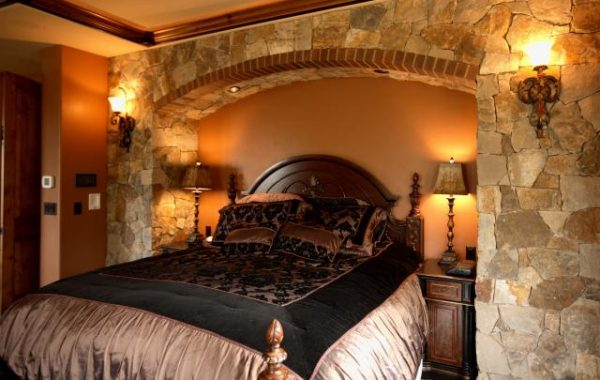 Beautiful rock work in the bedroom of a new home build