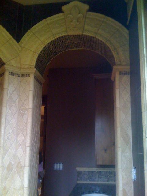 Arched tile in a bathroom